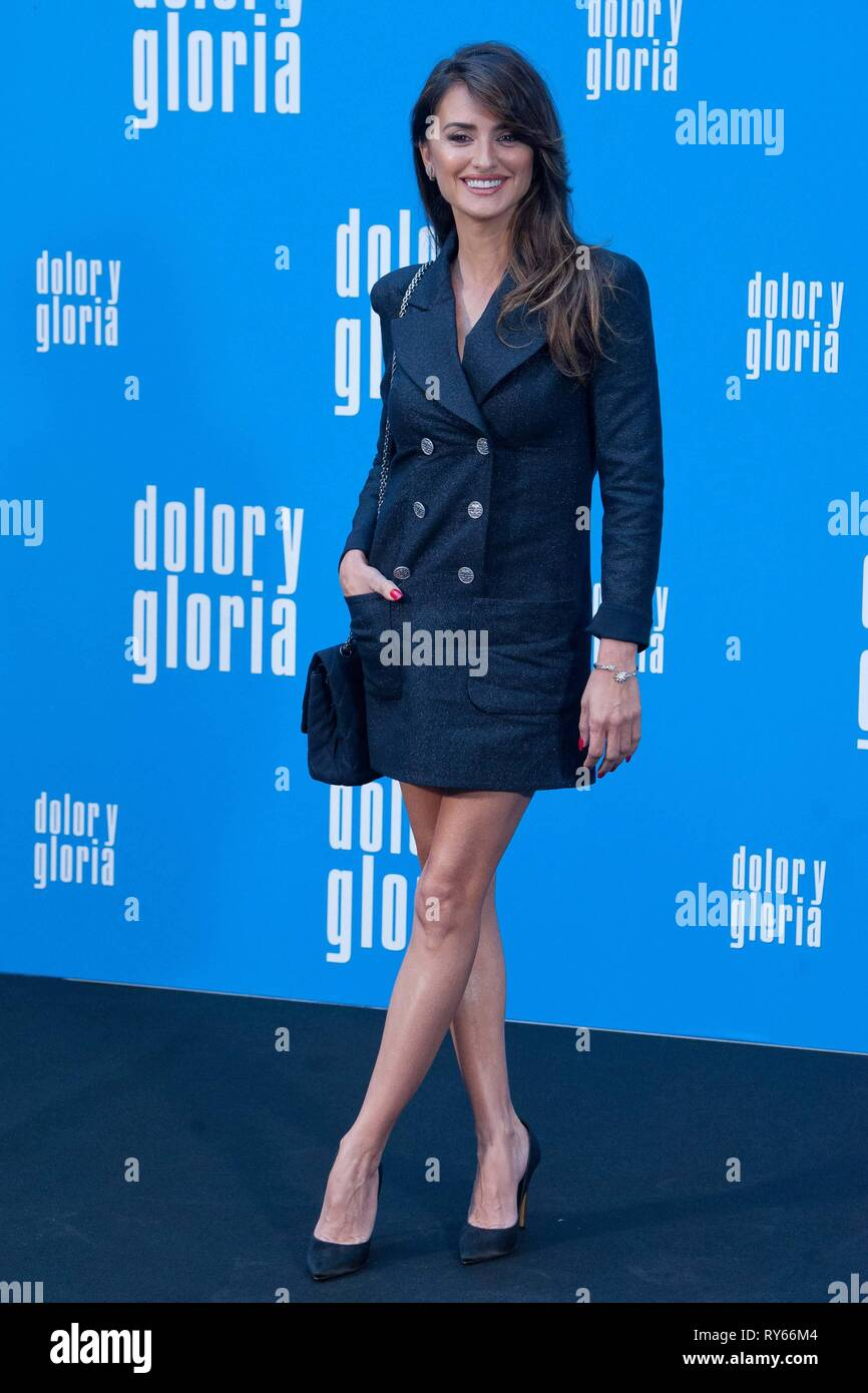 Madrid, Spain. 12th Mar 2019. Actress Penelope Cruz poses during a photocall to promote film 'Dolor y Gloria' in Madrid, Spain, on Tuesday March 12, 2019.   Cordon Press Credit: CORDON PRESS/Alamy Live News - Stock Image