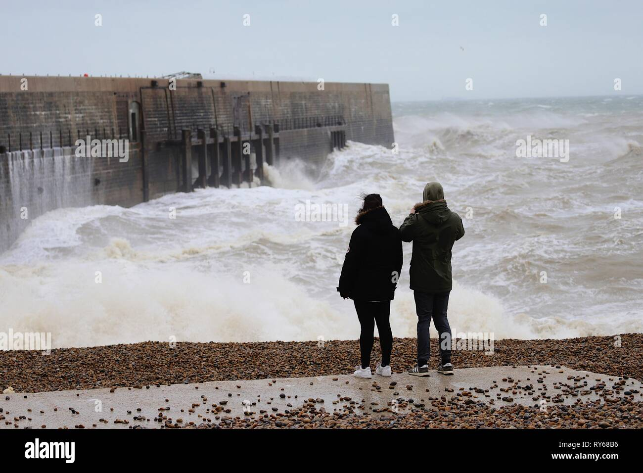 Folkestone, Kent, UK  12 Mar, 2019  UK Weather: Storm Gareth
