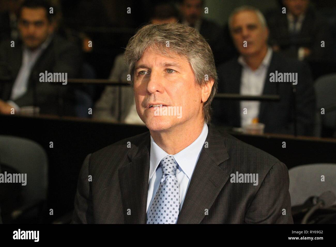 Argentinian former vice president Armando Boudou (2011-2015), already in prisson for corruption, attends a new trial for alleged irregular purchase of 19 high-end cars and the alleged falsification of documentation of a vehicle, in Buenos Aires, Argentina, 12 March 2019. EFE/Aitor Pereira - Stock Image