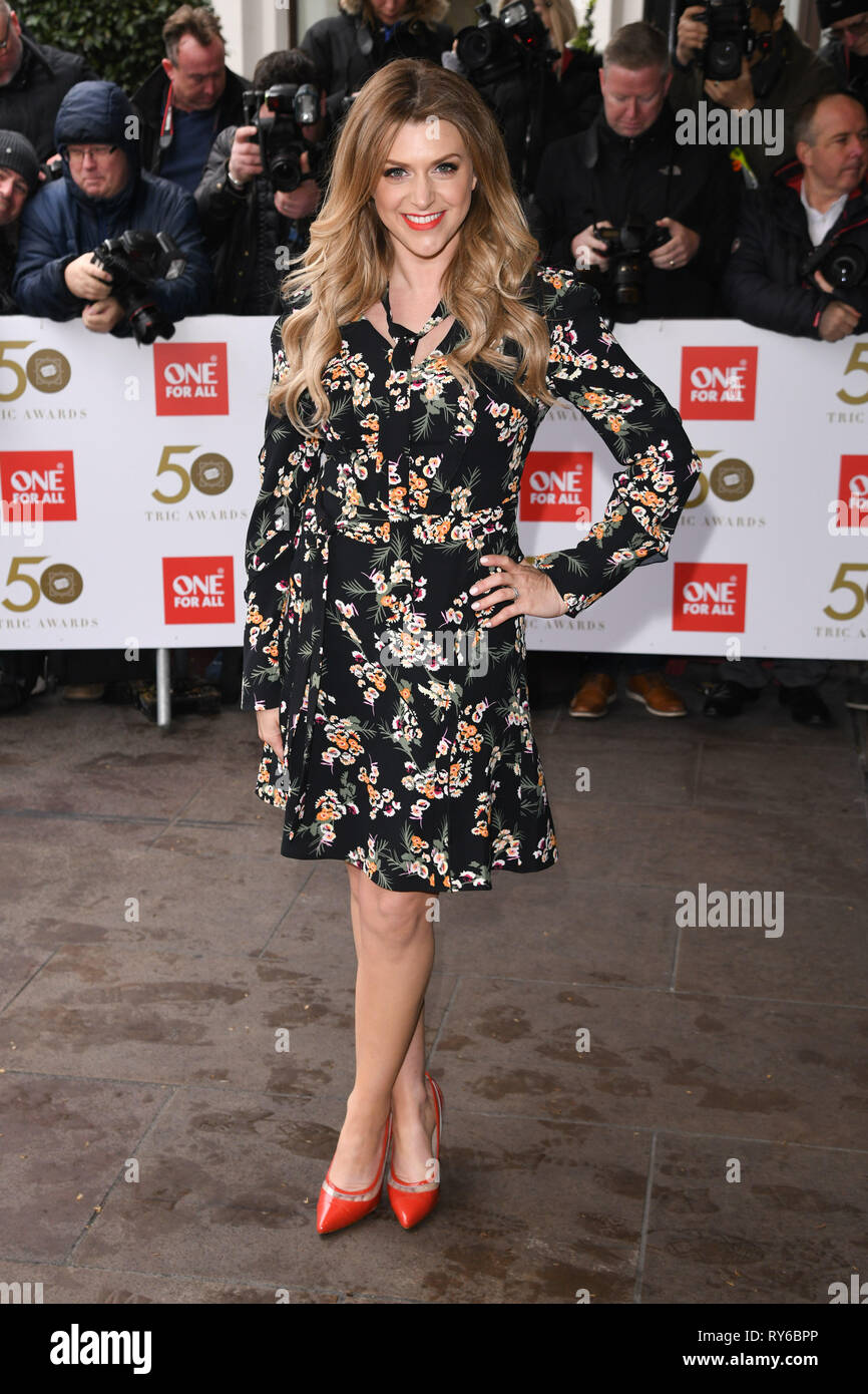 LONDON, UK. March 12, 2019: Anna Williamson arriving for the TRIC Awards 2019 at the Grosvenor House Hotel, London. Picture: Steve Vas/Featureflash Credit: Paul Smith/Alamy Live News - Stock Image