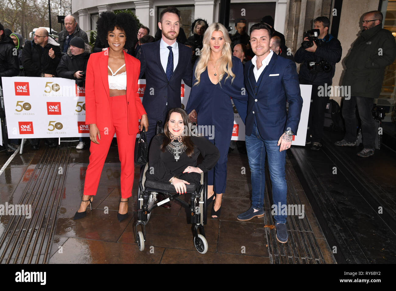 London, UK. 12th Mar, 2019. LONDON, UK. March 12, 2019: Hollyoaks arriving for the TRIC Awards 2019 at the Grosvenor House Hotel, London. Picture: Steve Vas/Featureflash Credit: Paul Smith/Alamy Live News Stock Photo