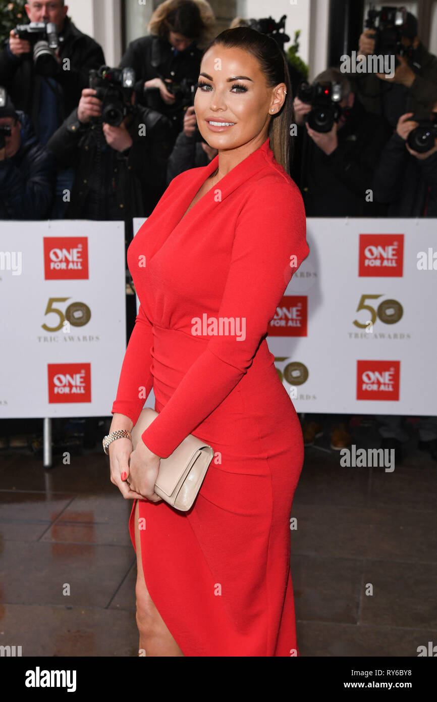 London, UK. 12th Mar, 2019. LONDON, UK. March 12, 2019: Jessica Wright arriving for the TRIC Awards 2019 at the Grosvenor House Hotel, London. Picture: Steve Vas/Featureflash Credit: Paul Smith/Alamy Live News Stock Photo