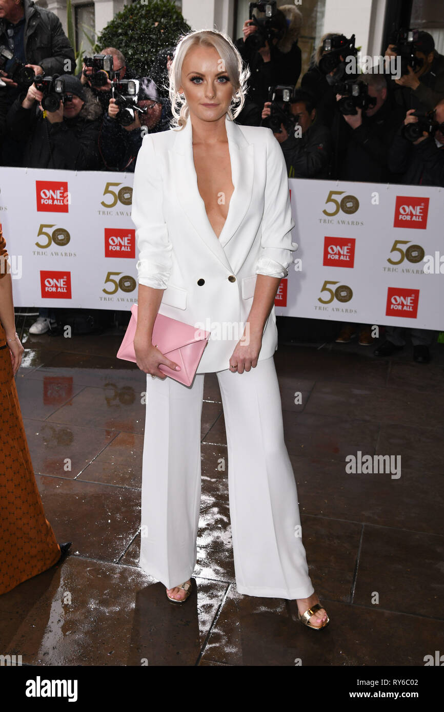 London, UK. 12th Mar, 2019. LONDON, UK. March 12, 2019: Katie McGlynn arriving for the TRIC Awards 2019 at the Grosvenor House Hotel, London. Picture: Steve Vas/Featureflash Credit: Paul Smith/Alamy Live News Stock Photo
