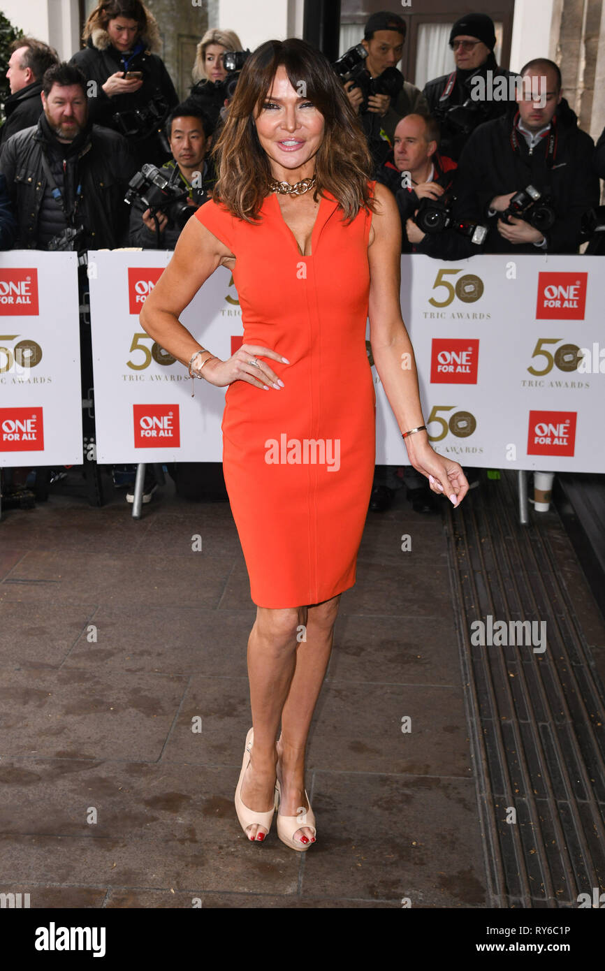 London, UK. 12th Mar, 2019. LONDON, UK. March 12, 2019: Lizzie Cundy arriving for the TRIC Awards 2019 at the Grosvenor House Hotel, London. Picture: Steve Vas/Featureflash Credit: Paul Smith/Alamy Live News Stock Photo