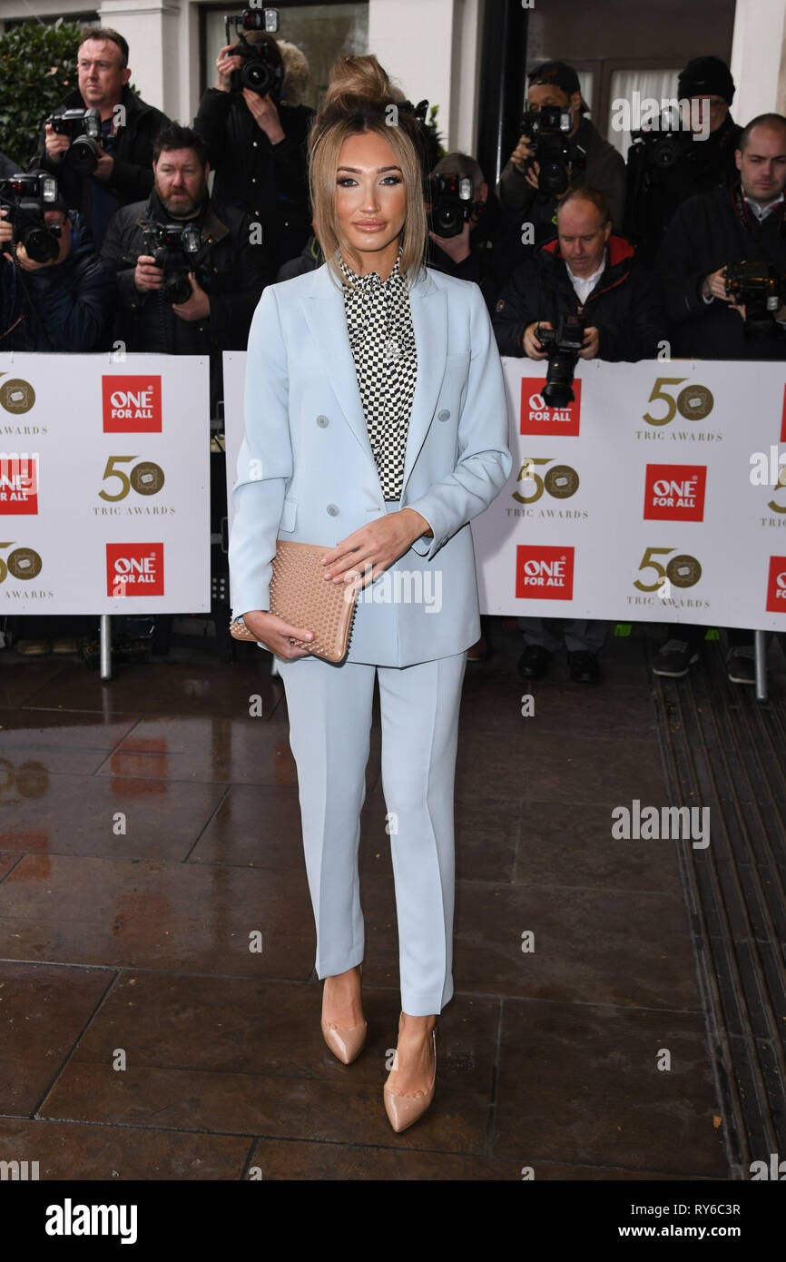 London, UK. 12th Mar, 2019. LONDON, UK. March 12, 2019: Megan McKenna arriving for the TRIC Awards 2019 at the Grosvenor House Hotel, London. Picture: Steve Vas/Featureflash Credit: Paul Smith/Alamy Live News Stock Photo