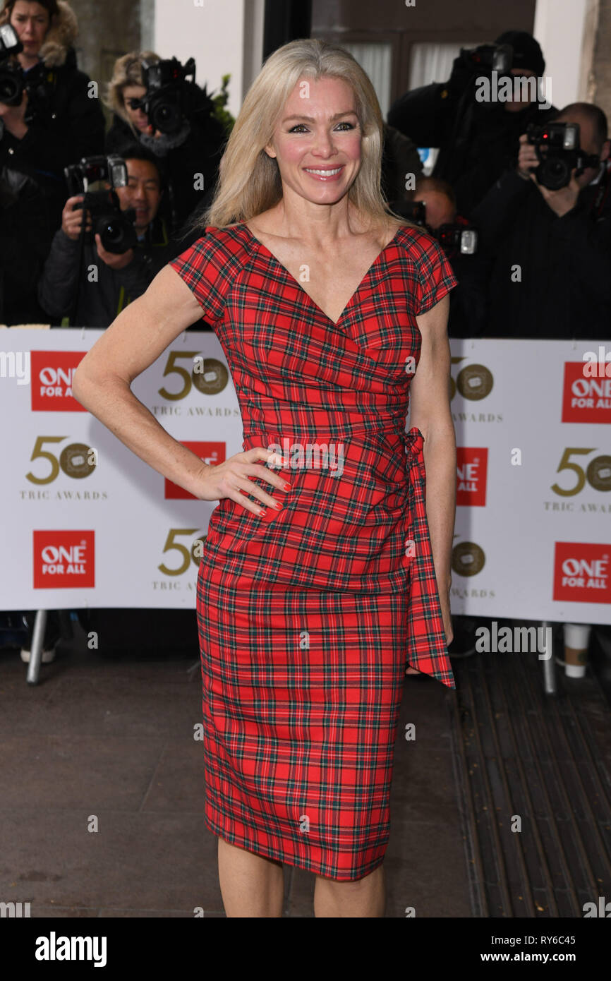 London, UK. 12th Mar, 2019. LONDON, UK. March 12, 2019: Nell McAndrew arriving for the TRIC Awards 2019 at the Grosvenor House Hotel, London. Picture: Steve Vas/Featureflash Credit: Paul Smith/Alamy Live News Stock Photo