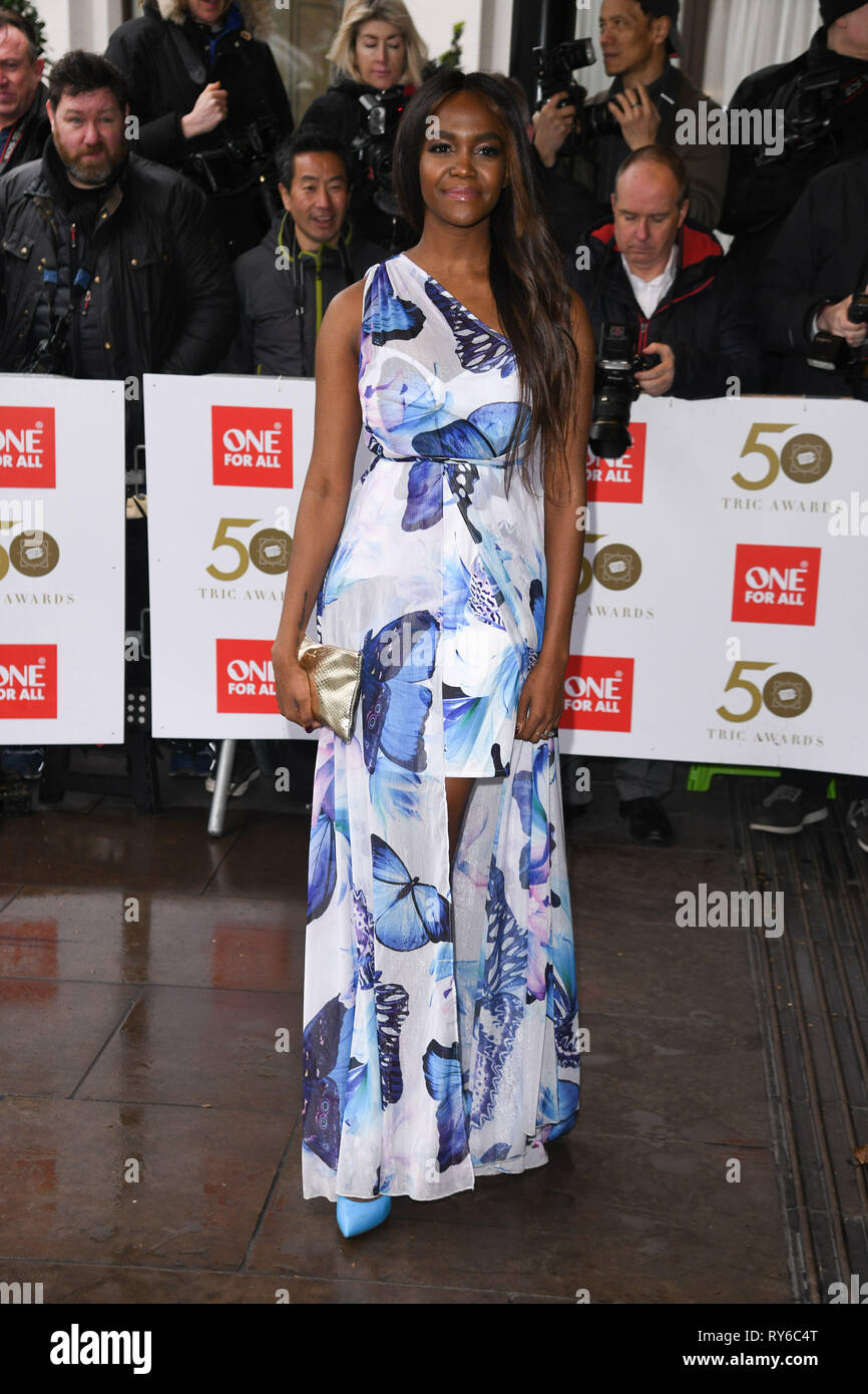London, UK. 12th Mar, 2019. LONDON, UK. March 12, 2019: Oti Mabuse arriving for the TRIC Awards 2019 at the Grosvenor House Hotel, London. Picture: Steve Vas/Featureflash Credit: Paul Smith/Alamy Live News Stock Photo