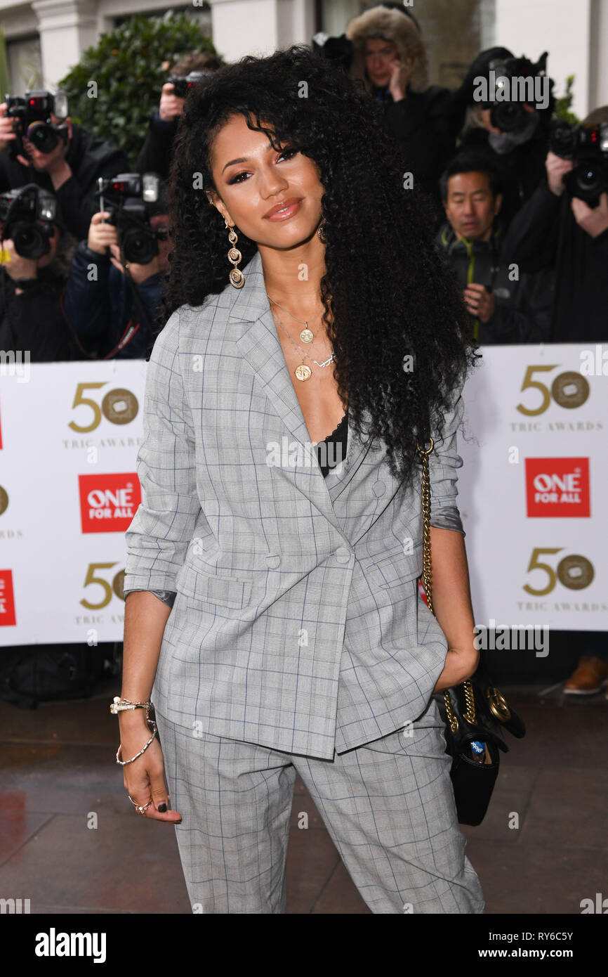 London, UK. 12th Mar, 2019. LONDON, UK. March 12, 2019: Vick Hope arriving for the TRIC Awards 2019 at the Grosvenor House Hotel, London. Picture: Steve Vas/Featureflash Credit: Paul Smith/Alamy Live News Stock Photo