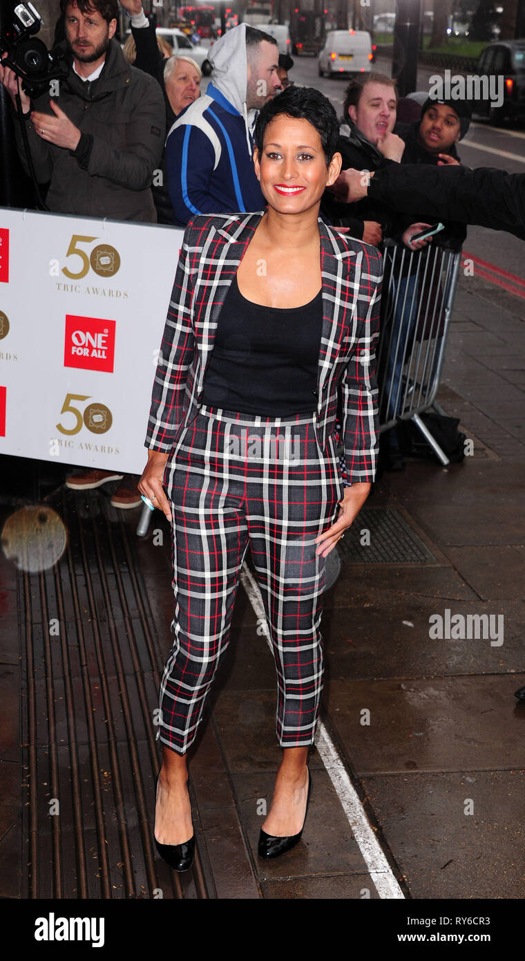 London, UK. 12th Mar, 2019. Naga Munchetty attending The TRIC Awards 50th Anniversary 2019 at The Grosvenor House Hotel London 12th March 2019 Credit: Peter Phillips/Alamy Live News - Stock Image
