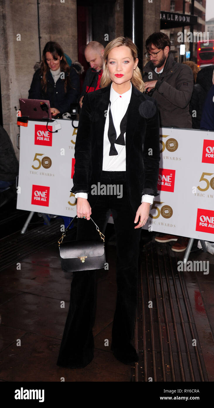 London, UK. 12th Mar, 2019. Laura Whitmore attending The TRIC Awards 50th Anniversary 2019 at The Grosvenor House Hotel London 12th March 2019 Credit: Peter Phillips/Alamy Live News - Stock Image