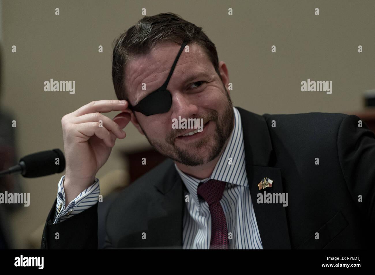 Washington, District of Columbia, USA. 12th Mar, 2019. Representative DAN CRENSHAW (R-TX) at a House Budget Committee hearing, March 12, 2019 Credit: Douglas Christian/ZUMA Wire/Alamy Live News - Stock Image