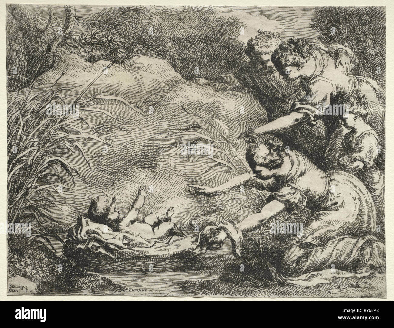 Moses Saved from the Nile. Bartolomeo Biscaino (Italian, 1632-1657). Etching - Stock Image