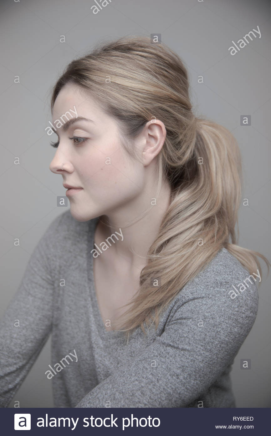 75362b73b3171 Portrait beautiful thoughtful young woman with blonde hair and nose ring -  Stock Image