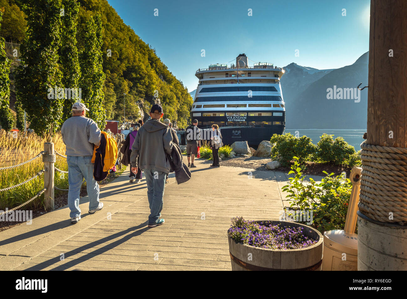 September 15, 2018 - Skagway, AK: Passengers returning on foot to cruise ships. Stock Photo