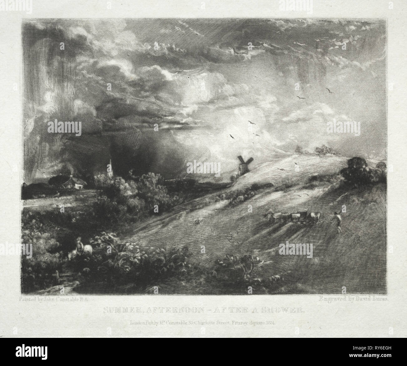 Various Subjects of Landscape, Characteristic of English Scenery from Pictures Painted by John Constable, R.A.:  Summer Afternoon - after a Shower, 1831. David Lucas (British, 1802-1881), after John Constable (British, 1776-1837). Mezzotint - Stock Image