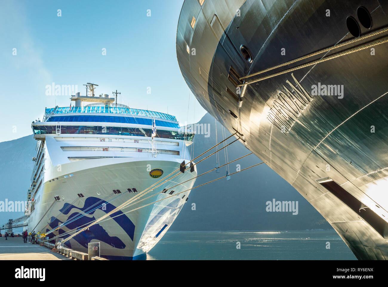 September 15, 2018 - Skagway, AK: The Volendam and Island Princess cruise ships. - Stock Image