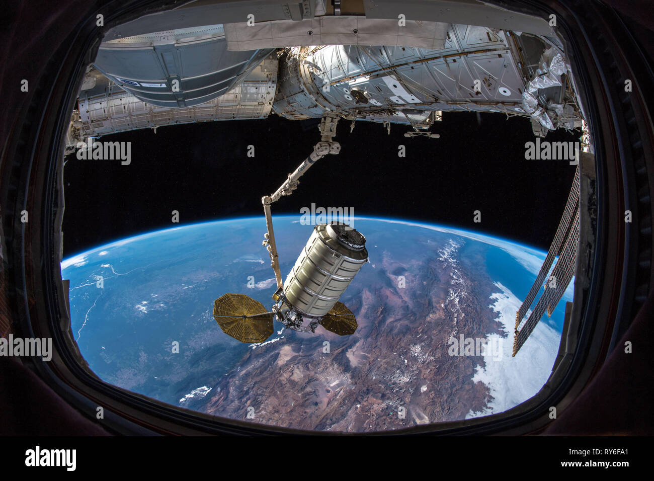 Cygnys spacecraft docked to the ISS (International Space Station), delivers research and supplies. Will depart Feb. 2019. - Stock Image