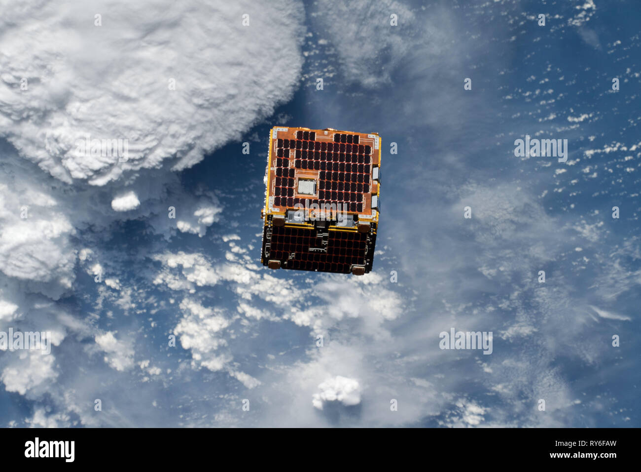 NanoRacks-Remove Debris satellite was deployed on June 20, 2018,​ from the International Space Station. Stock Photo