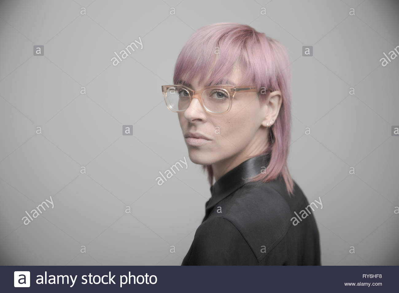 Portrait confident beautiful non-binary gender person with