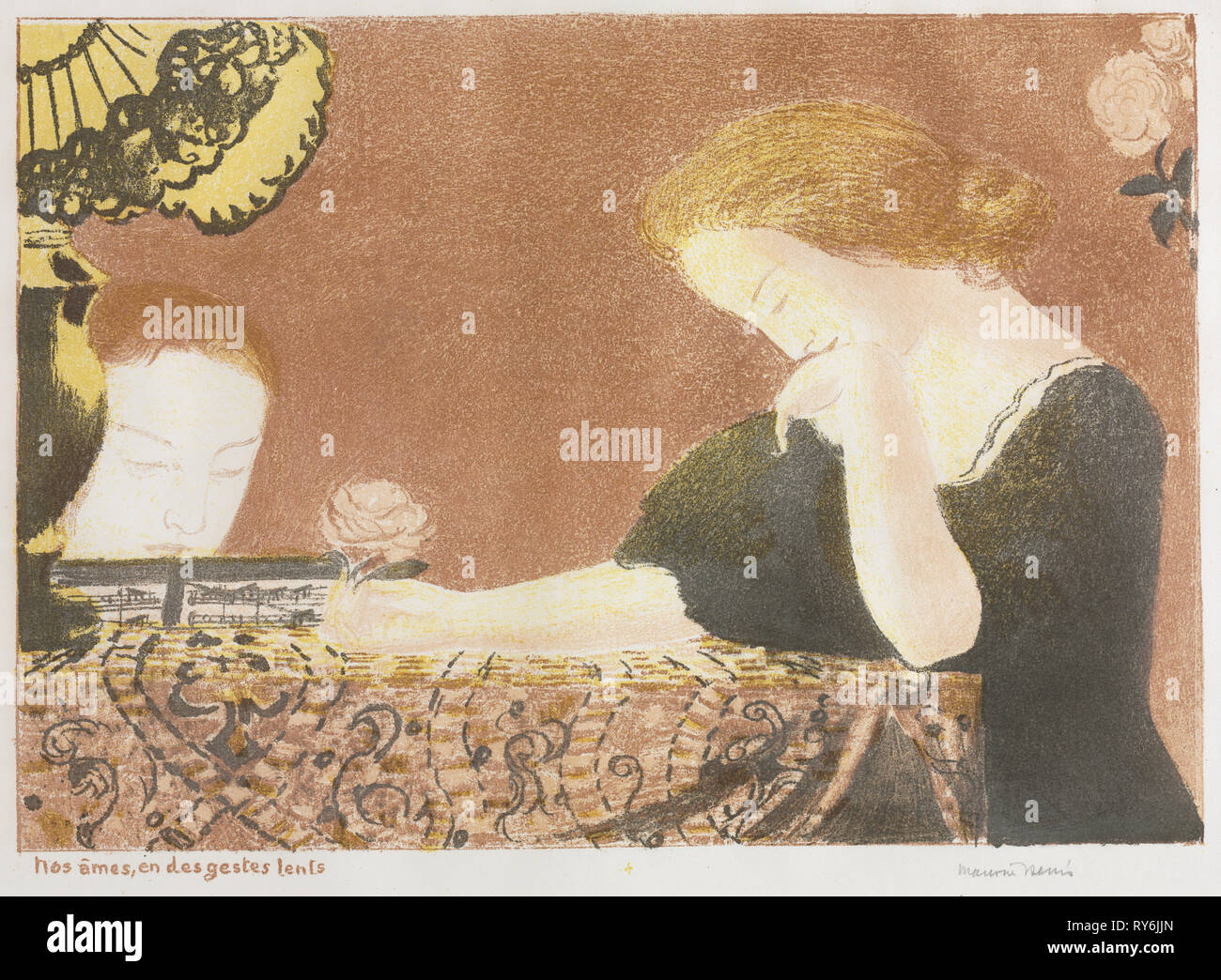 the album L'Amour: Love: Our Souls, in Slight Gestures, 1892-1898 (published 1911). Maurice Denis (French, 1870-1943), Ambroise Vollard, Paris, 1911. Color lithograph; sheet: 40.5 x 53.4 cm (15 15/16 x 21 in.); image: 28.3 x 40.1 cm (11 1/8 x 15 13/16 in - Stock Image