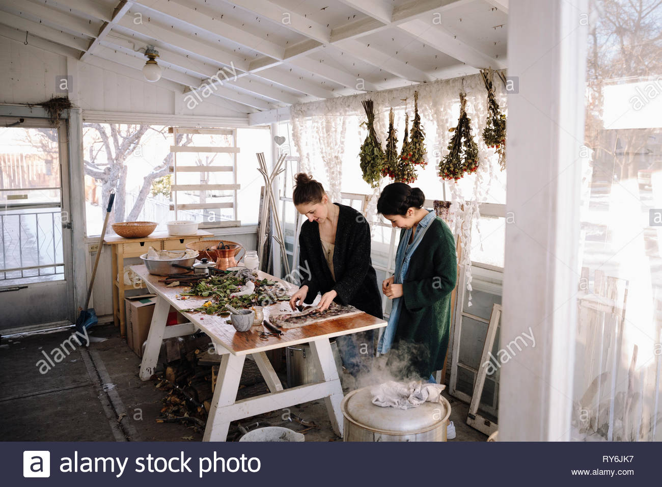 Female artists drying flowers for paper making in studio - Stock Image