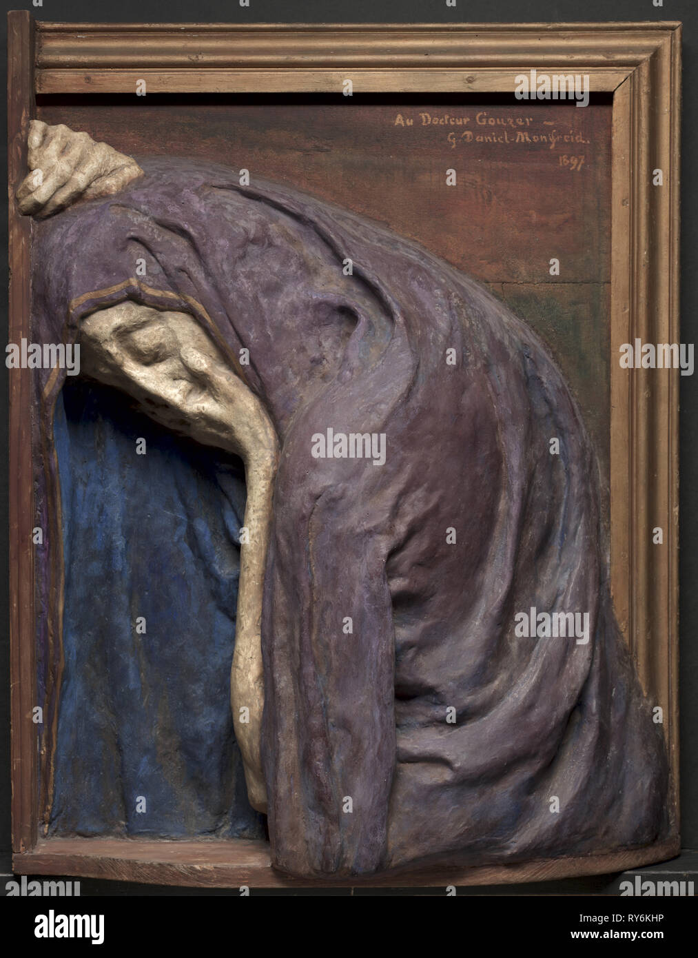 Mater Dolorosa (The Virgin Mary Mourning), 1897. Georges-Daniel de Monfreid (French, 1856-1929). Painted plaster and wood; framed: 73.7 x 59.1 x 17.8 cm (29 x 23 1/4 x 7 in - Stock Image