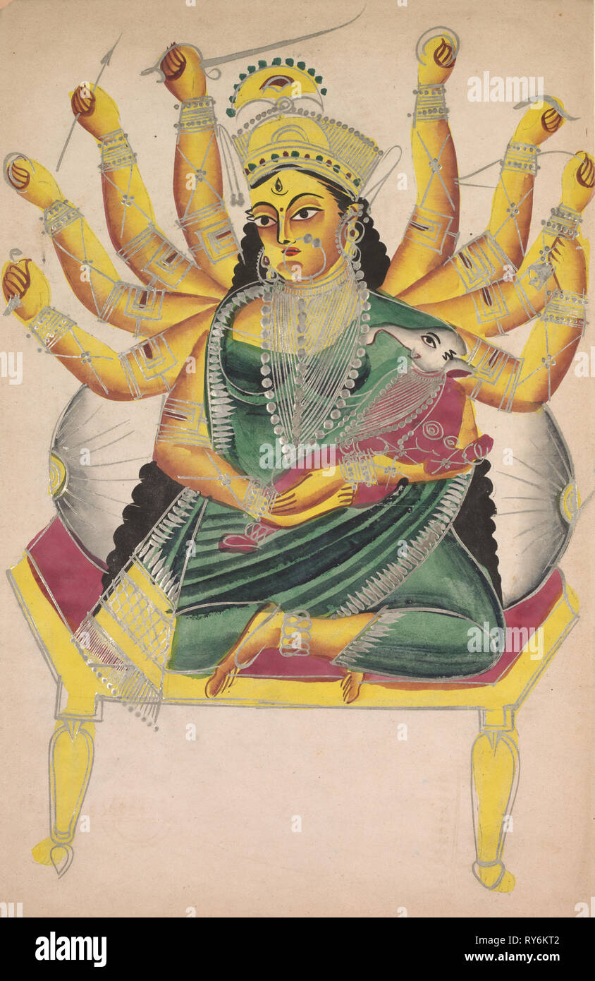 Ganesha-Janani (Mother of Ganesh), 1800s. India, Calcutta, Kalighat painting, 19th century. Ink, color and silver paint on paper; painting only: 44.2 x 27.9 cm (17 3/8 x 11 in Stock Photo