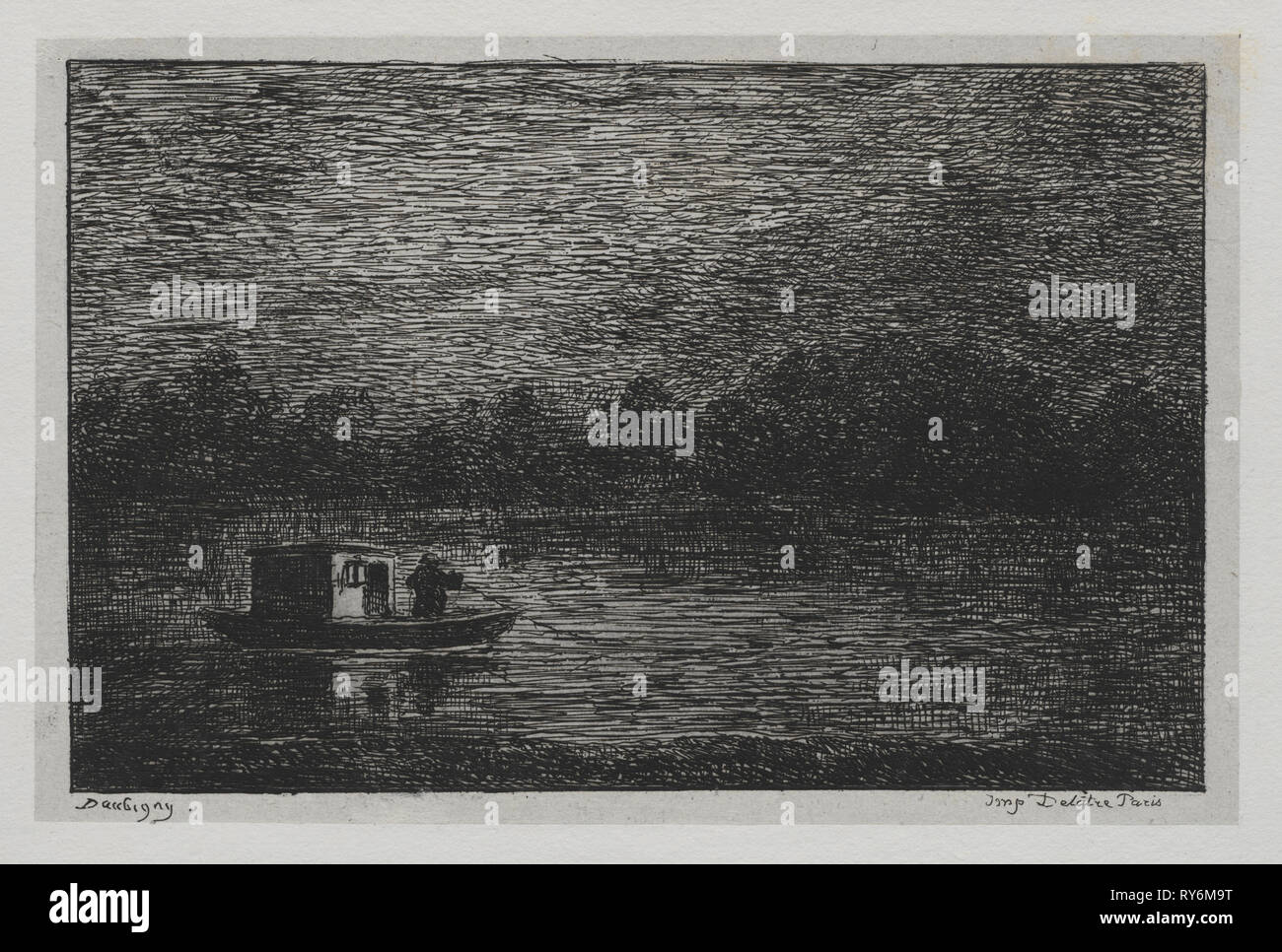 The Boat Trip:  Night Voyage or Net Fishing (second version), 1861. Charles François Daubigny (French, 1817-1878). Etching with chine collé; sheet: 31.5 x 44.7 cm (12 3/8 x 17 5/8 in.); platemark: 14.1 x 19 cm (5 9/16 x 7 1/2 in - Stock Image