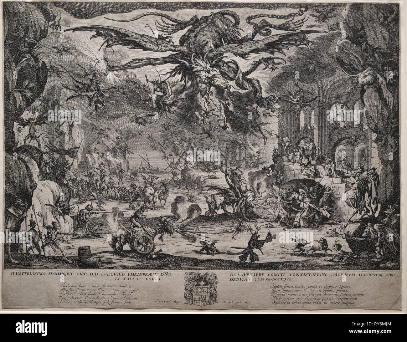 The Temptation of Saint Anthony (second version), 1635. Jacques Callot (French, 1592-1635). Etching; sheet: 35.6 x 46.3 cm (14 x 18 1/4 in.); platemark: 31 x 45.8 cm (12 3/16 x 18 1/16 in - Stock Image