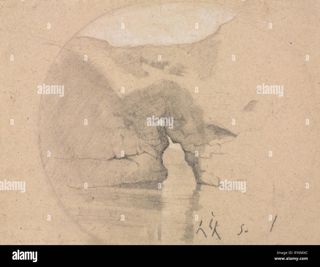 Sorrente, Bains de la Reine Jeanne. Henri Joseph Harpignies (French, 1819-1916). Black and white chalk; sheet: 21.7 x 28.5 cm (8 9/16 x 11 1/4 in - Stock Image