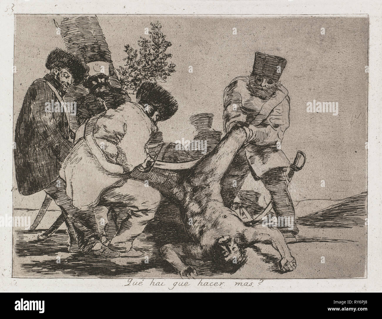 Disasters of War: Pl. 33, What more can one do?  , 1810-1813 . Francisco de Goya (Spanish, 1746-1828), Real Academia. Etching and aquatint; sheet: 24.3 x 33.3 cm (9 9/16 x 13 1/8 in.); platemark: 15.8 x 20.6 cm (6 1/4 x 8 1/8 in.); to borderline: 13.9 x 18.7 cm (5 1/2 x 7 3/8 in - Stock Image