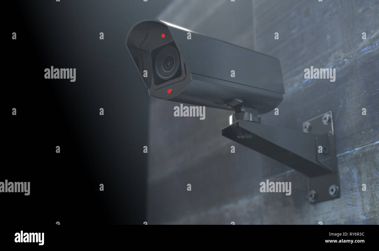 A wireless surveillance camera with illuminated lights mounted on a wall in the night-time with copy space - 3D render - Stock Image