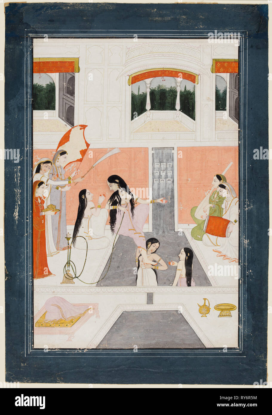 A lady at her toilette listens to music by the side of a palace water cascade, c. 1780. Northern India, Himachal Pradesh, Guler. Color on paper; page: 29.9 x 20.7 cm (11 3/4 x 8 1/8 in.); miniature: 24.2 x 15.9 cm (9 1/2 x 6 1/4 in - Stock Image