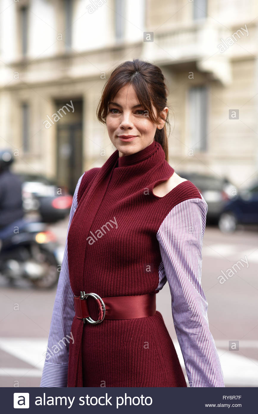Michelle Monaghan at Salvatore Ferragamo fashion show during the Milan fashion week autumn winter 2019/20 - Stock Image