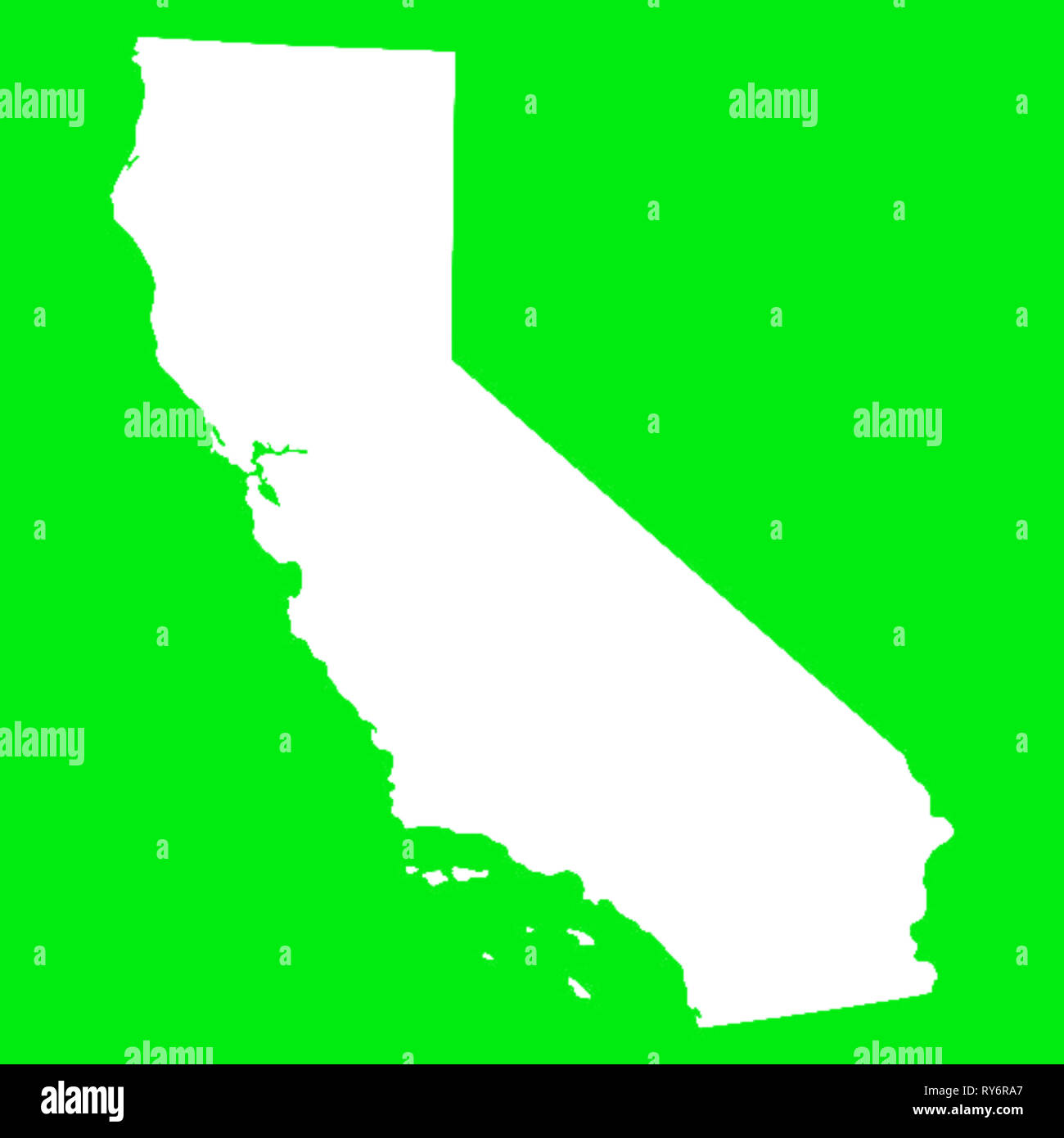 California Map Outline White on Green Screen Stock Photo: 240480527 on
