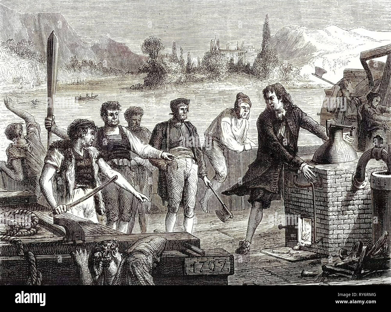 The Boatmen of the Weser Chop Papin's Steamboat in Pieces - Stock Image