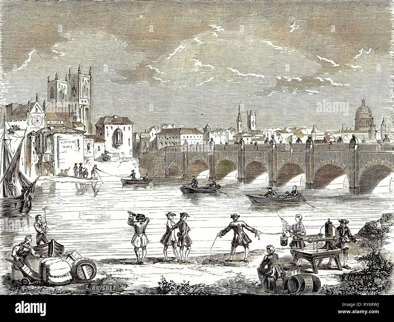 Experiment Conducted in 1747 on the Thames by Martin Folcker Cavendish and Bevis Near London Bridge to Measure the Speed of Electricity - Stock Image