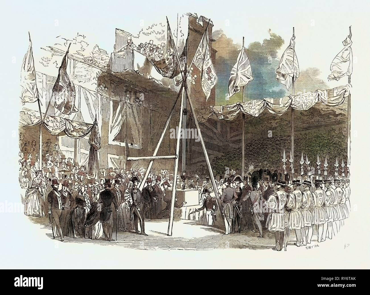 The Duke of Wellington Laying the First Stone of the Waterloo Barracks, at the Tower of London, Great Britain Stock Photo