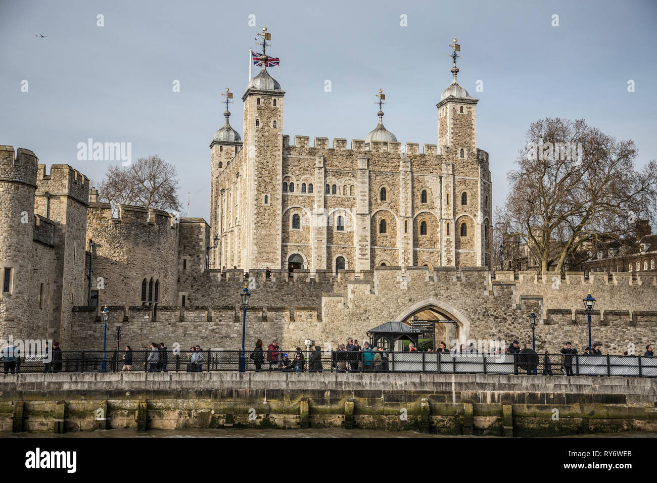 Tower of London, officially Her Majesty's Royal Palace  and Fortress, the historic estate home to the Crown Jewels, London, England, UK - Stock Image