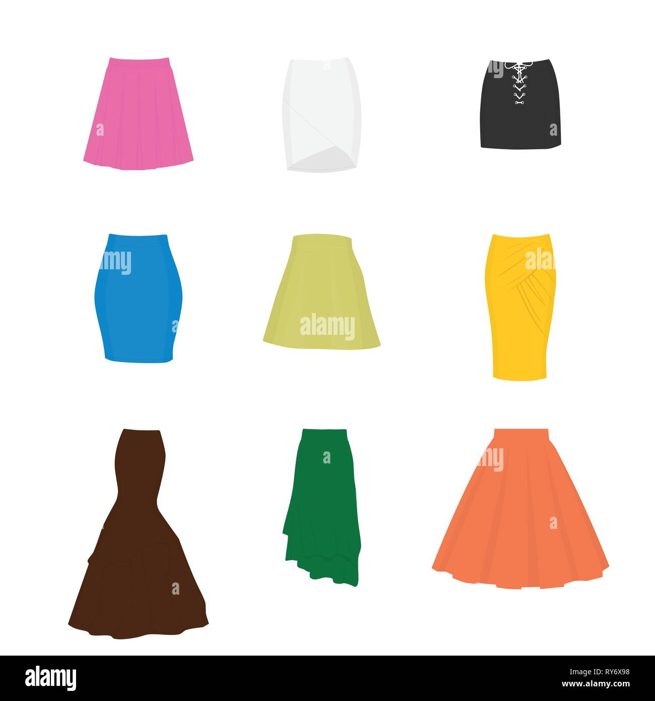 Set of different types of skirts. A-line, tube, mini, pencil, circle, draped, mermaid, asymmetrical and box pleated - Stock Vector