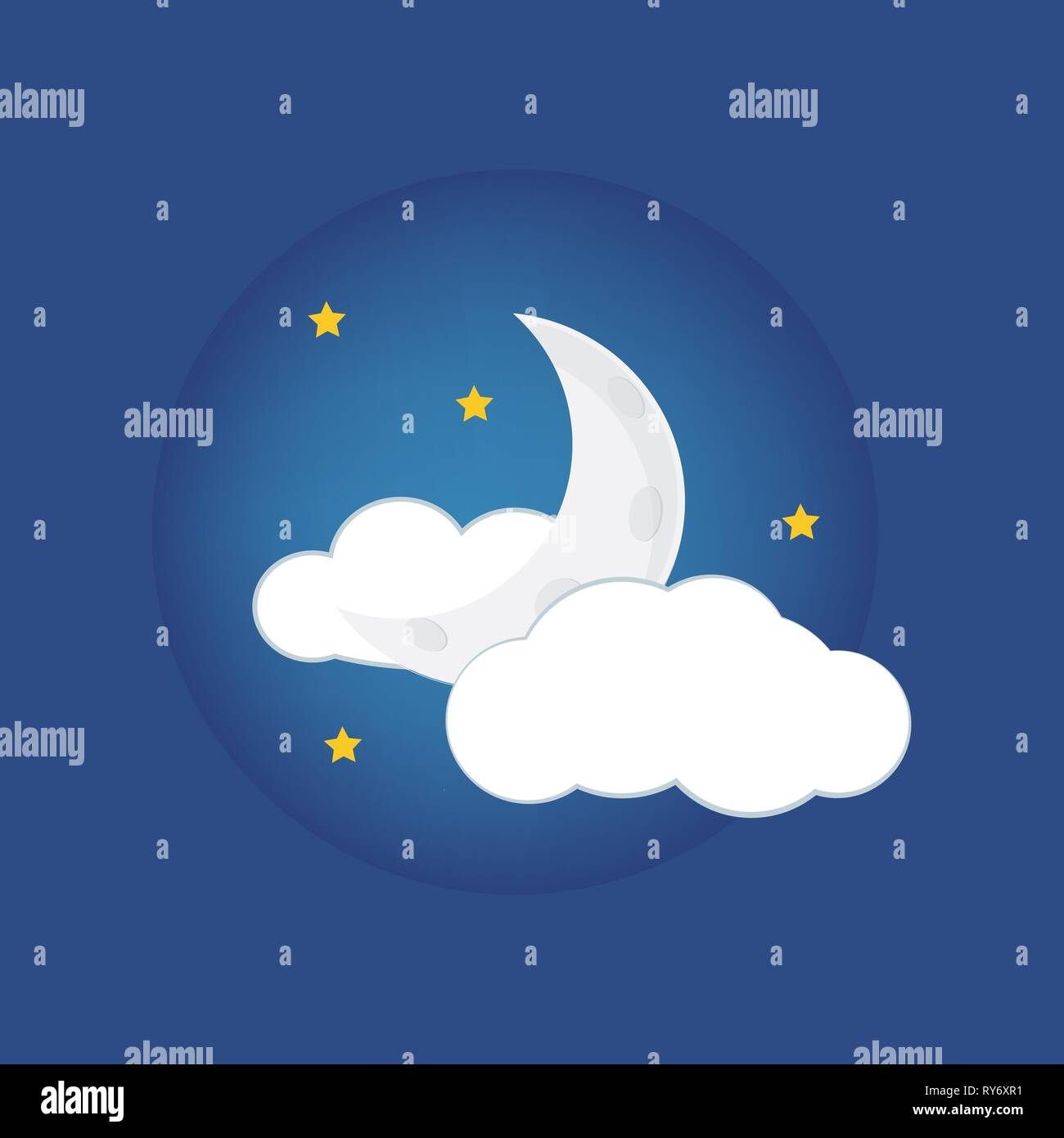 Mystical Night sky background with half moon, clouds and stars. Moonlight night Stock Vector