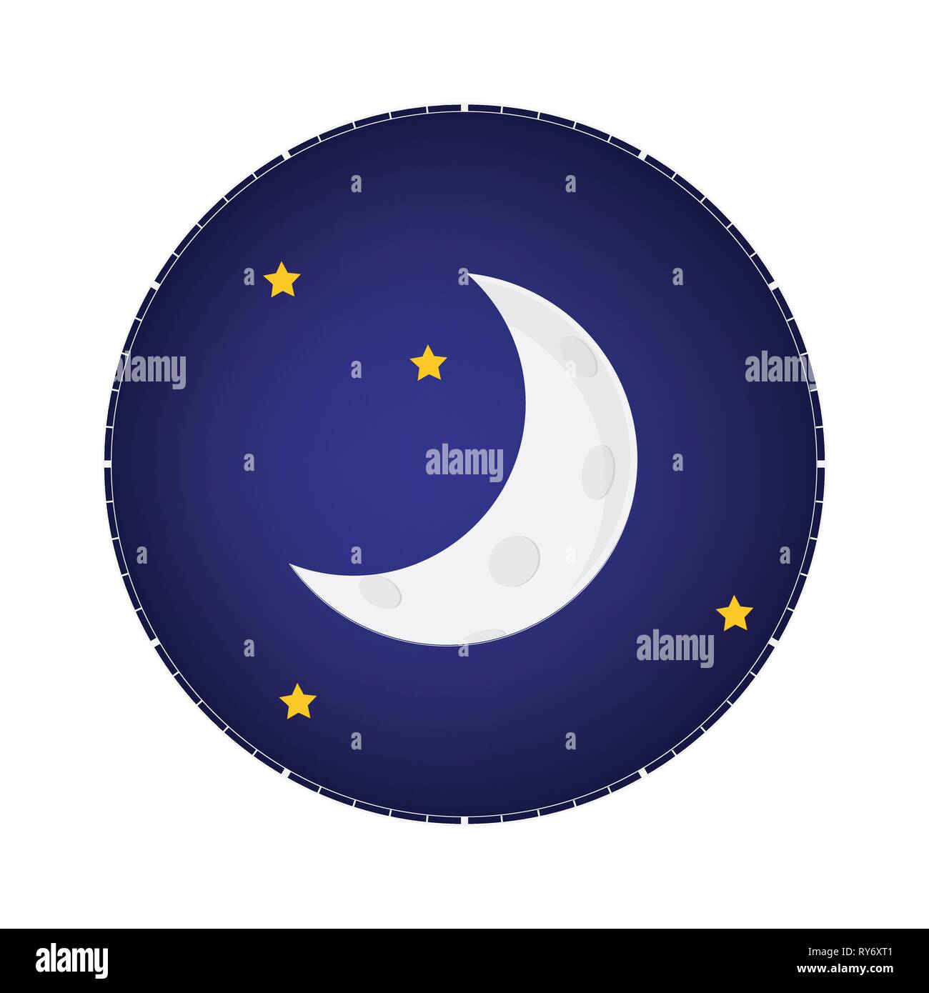 Mystical Night sky with half moon and stars. Moonlight night Stock Vector