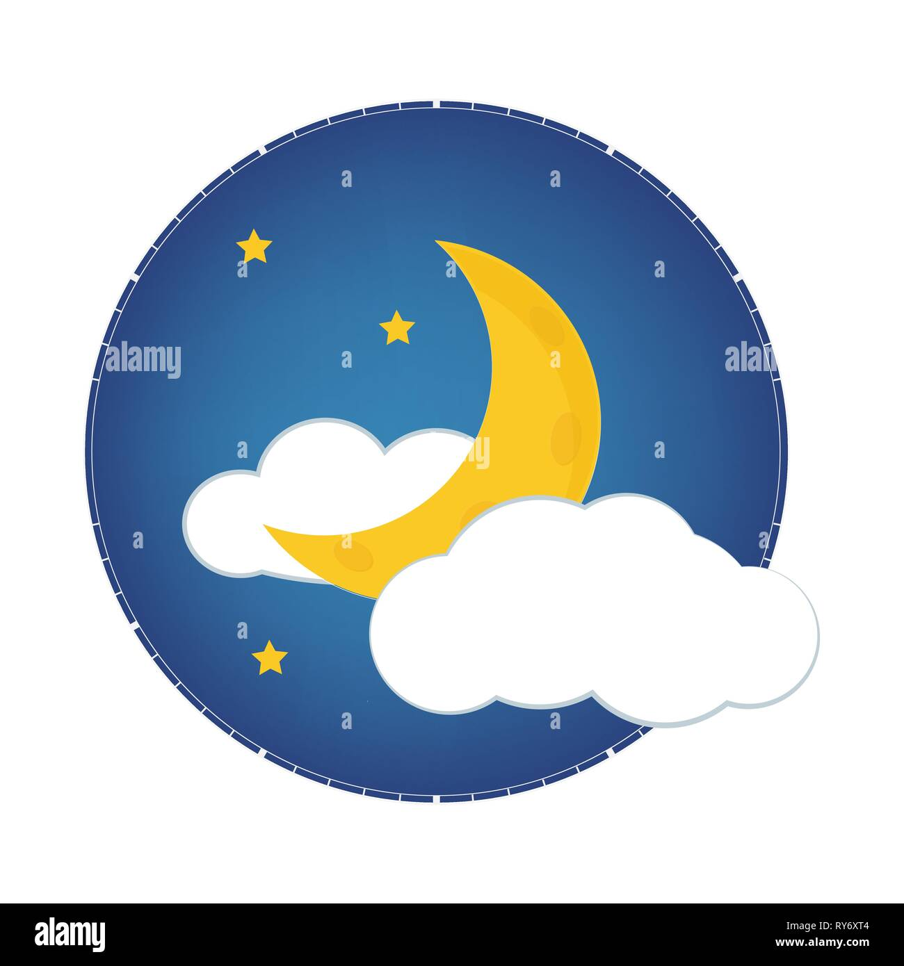 Mystical Night sky with half moon, clouds and stars. Moonlight night Stock Vector