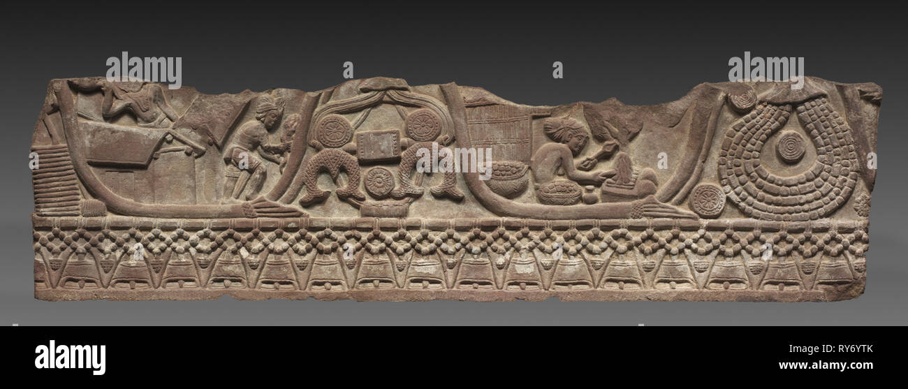 Section of a Coping Rail, c. 150 BC. India, Madhya Pradesh, Bharhut, Shunga Period. Sandstone; overall: 30.5 x 122 cm (12 x 48 1/16 in - Stock Image