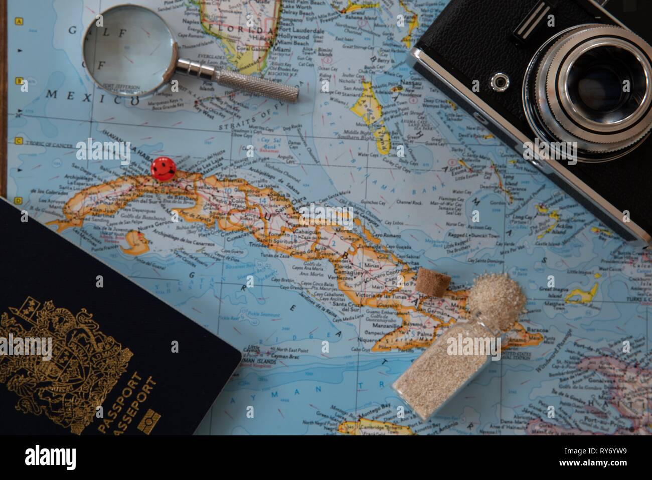 Planning a trip to Cuba on a world map Stock Photo ...