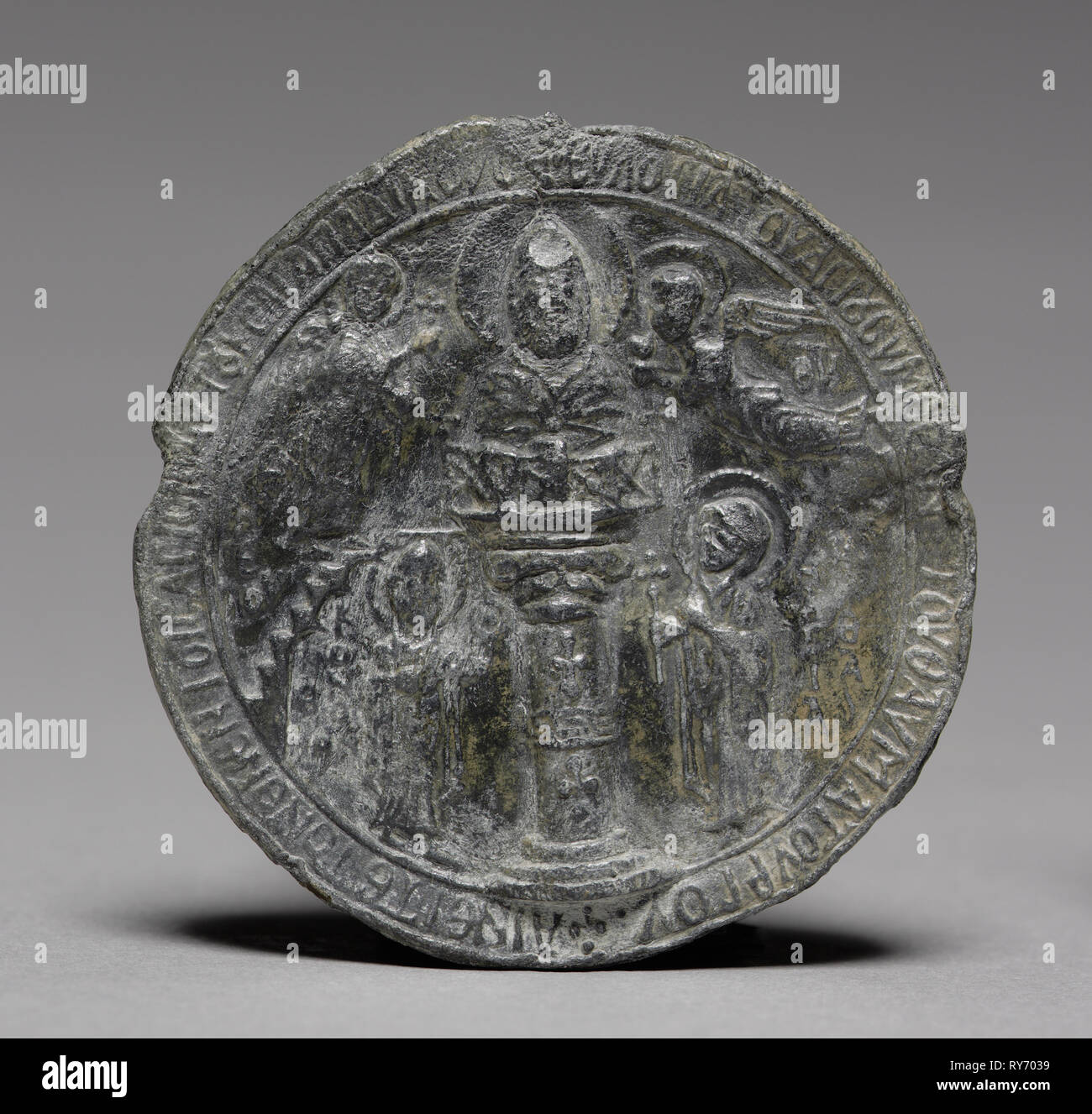 Pilgrim's Medallion with Saint Symeon the Younger, c. 1100. Byzantium, Syria, Byzantine period, early 12th Century. Lead; diameter: 5.7 x 0.4 cm (2 1/4 x 3/16 in - Stock Image