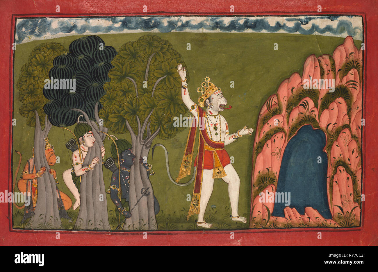 Sugriva (Monkey General) Challenges his Brother Bali, c. 1720. India, Pahari Hills, Nurpur, 18th century. Color on paper; image: 16.4 x 26.8 cm (6 7/16 x 10 9/16 in.); overall: 20.7 x 31 cm (8 1/8 x 12 3/16 in.); with mat: 36.3 x 49 cm (14 5/16 x 19 5/16 in - Stock Image