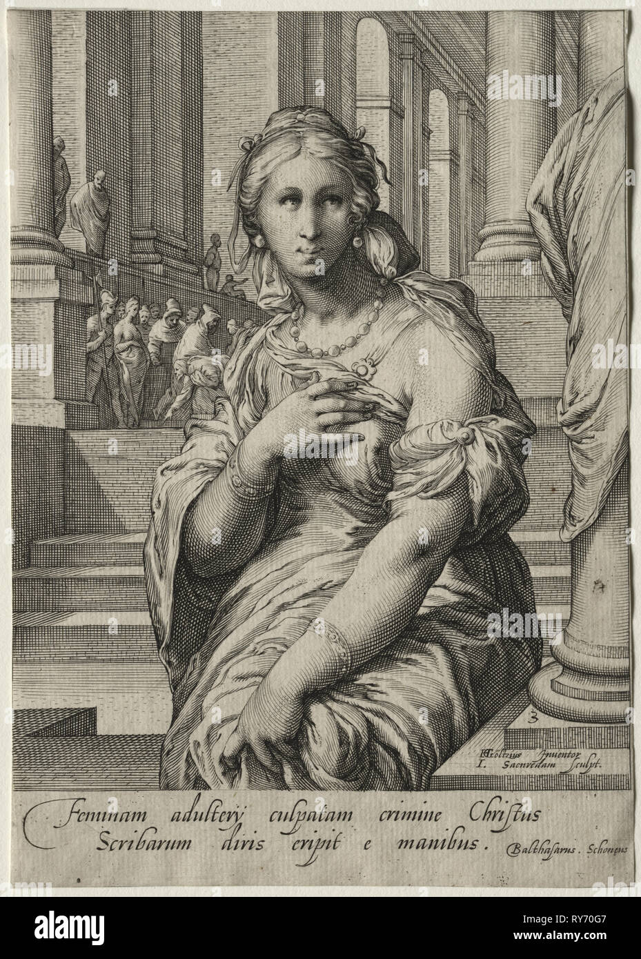 Heroines of the New Testament:  The Woman Taken in Adultery. Jan Saenredam (Dutch, 1565-1607). Engraving - Stock Image