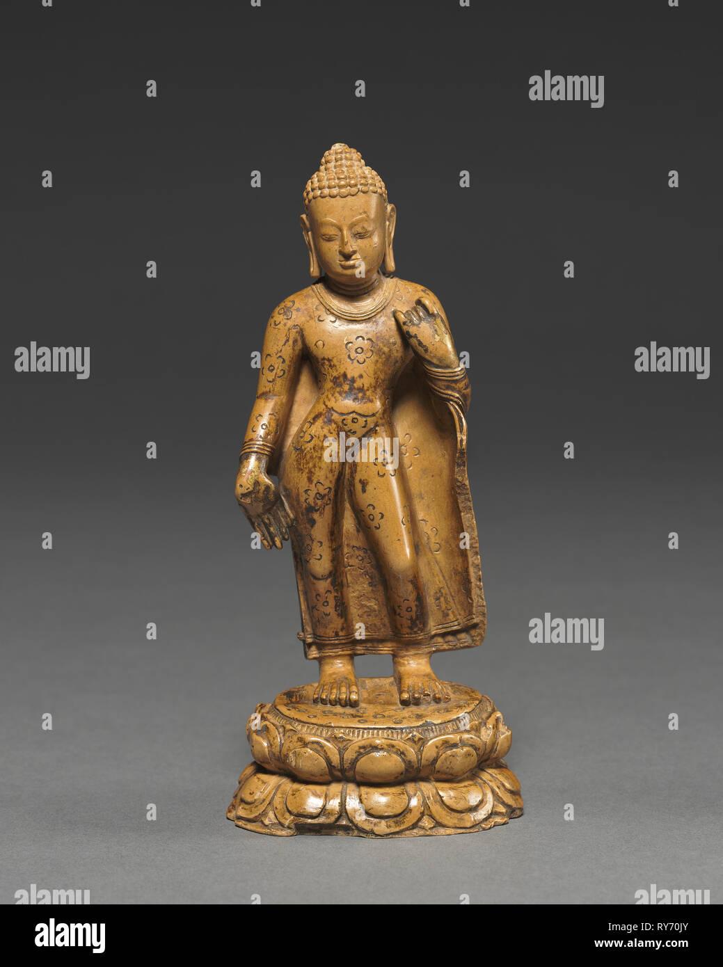 Standing Buddha, c. 800s. Burma, c. 9th Century. Kaolinite; overall: 13.9 cm (5 1/2 in - Stock Image