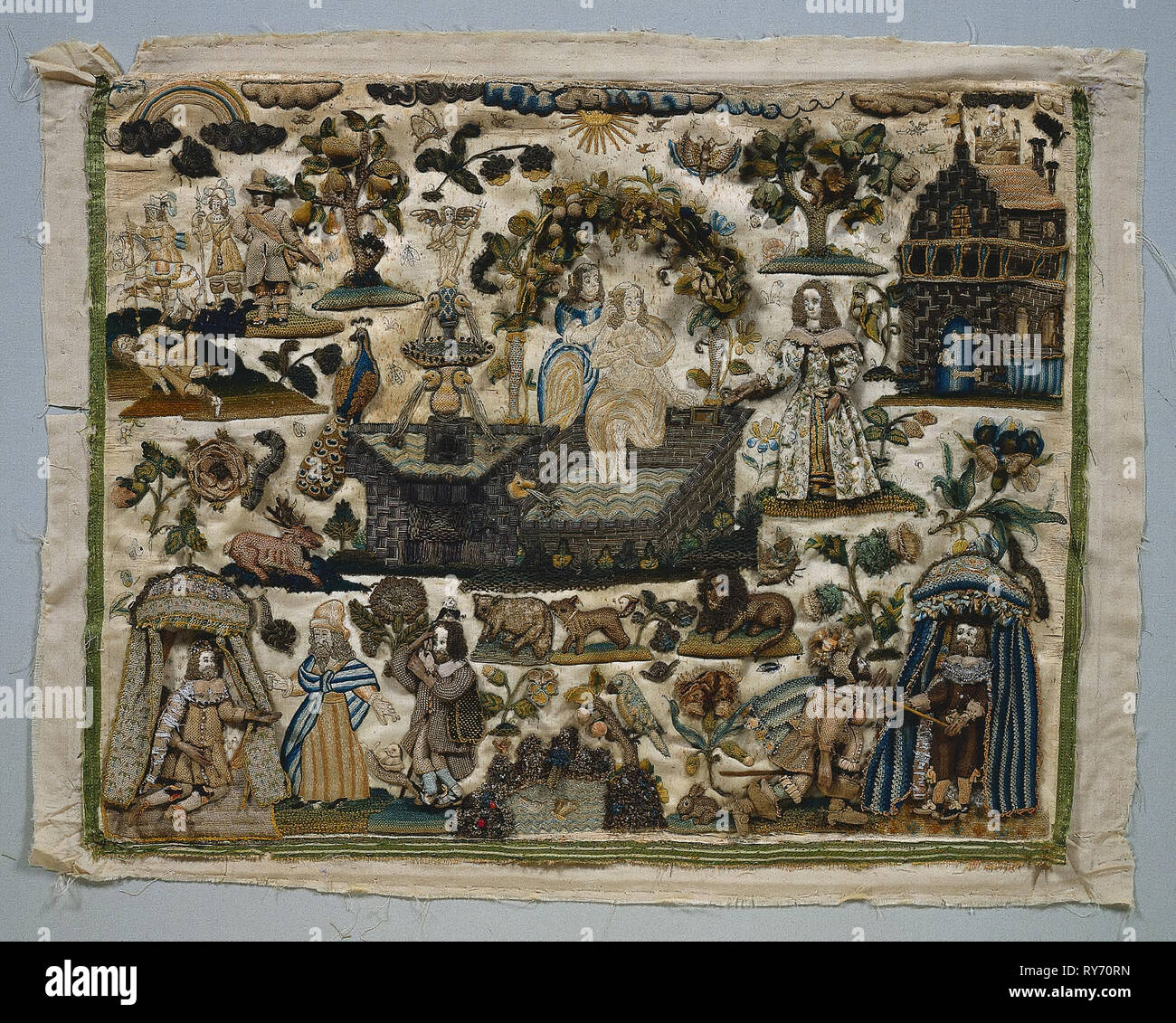 Stumpwork Panel: Story of David and Bathsheba, 1658. England, 17th century. Stumpwork embroidery with silk and metallic threads, pearls and wooden appendages; overall: 43.2 x 53.3 cm (17 x 21 in - Stock Image